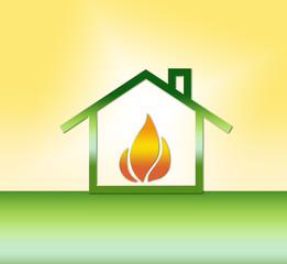 Haus mit Gas/Wärme - Symbol