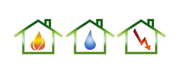Gas/Wasser/Strom - Symbole