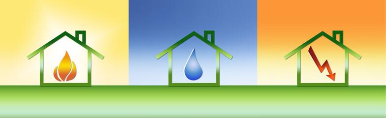 Wärme/Wasser/Strom - Symbole