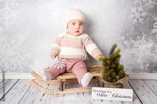 canvas print picture Frohe Weihnachten Baby