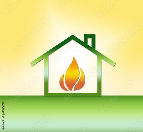 canvas print picture Haus mit Gas/Wärme - Symbol