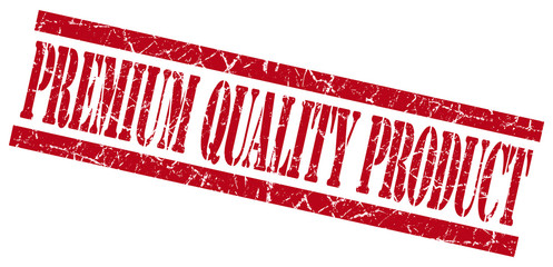 premium quality product red grunge stamp isolated on white
