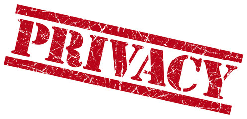 privacy red grunge stamp isolated on white