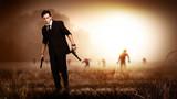 cooler Held vor Zombies