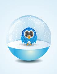 cute bird inside snow dome