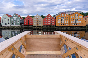 View gangplank on Trondheim city canal