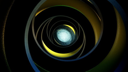 Abstract dark tunnel in black-yellow