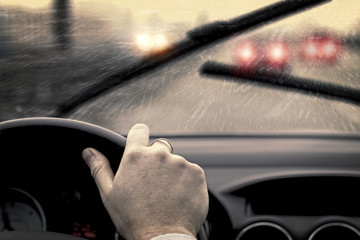 Rainy day in car