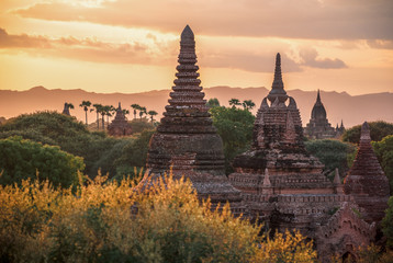 Myanmar, sunset over the temples of Bagan