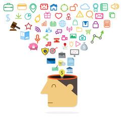 Open head of idea application concept. Vector illustration.