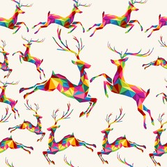 Christmas colorful triangle reindeer seamless pattern