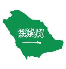 Flag of Saudi Arabia overlaid on outline map