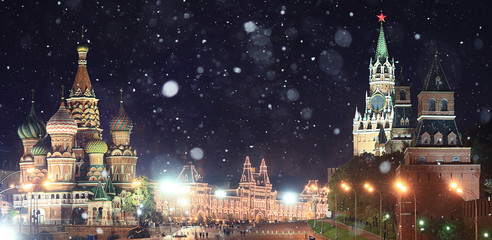 Moscow Kremlin Russian first snow landscape