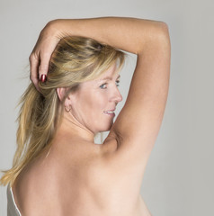Portrait of woman with bare back