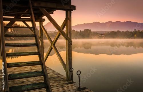 canvas print picture Romantische Stimmung frühmorgens am See