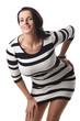 canvas print picture - Frau in einem schwarz-weißen Kleid isoliert