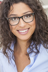 Mixed Race Latina Woman Girl Wearing Glasses