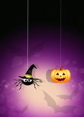 spider with Halloween pumpkin