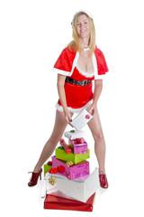 Female Santa with Christmas presents