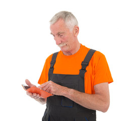 Laborer with digital tablet