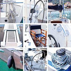 Yacht collage. Sailboat.Yachting concept