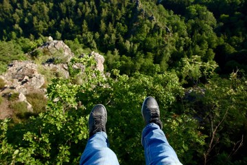 feet over a cliff