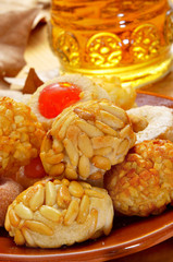 panellets and sweet wine, typical snack in All Saints Day in Cat