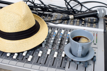 cup of coffee on a table sound reinforcement