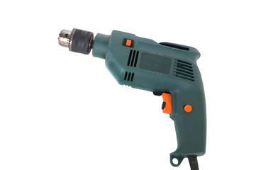 Electronic hand drill on white background.