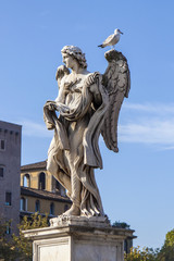 Rome, Italy. A sculpture the Angel decorating the Angel bridge