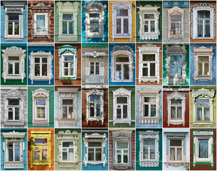Russia. The windows of the city Borovsk.