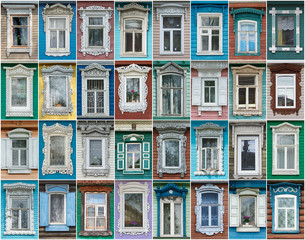 Russia. The windows of the city Gorodets.