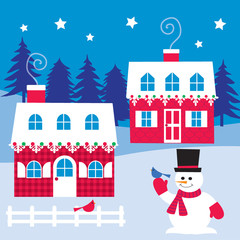 houses and snowman