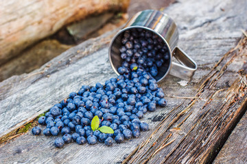 Blueberries spill out of metal cups on a wooden table