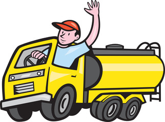 Tanker Truck Driver Waving Cartoon