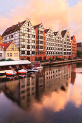 Old Town of Gdansk (Danzig) in Poland and Motlava river, Poland