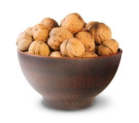 Clay Bowl Full Of Walnuts
