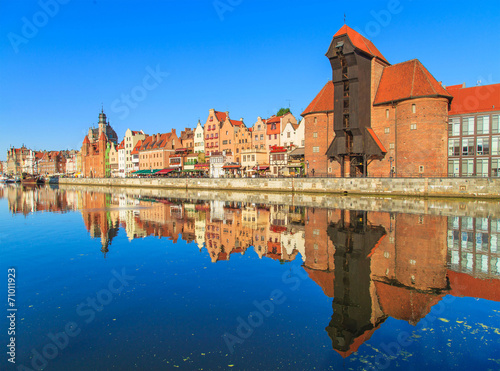 Harbor of Motlawa river with old town of Gdansk, Poland - 71011923