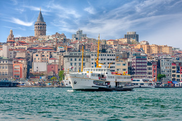 View of the Istanbul, Bosphorus and the ship. Turkey