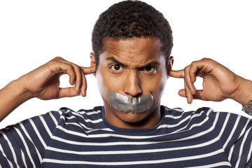 African man with closed ears and adhesive tape over his mouth