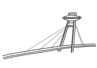 simple illustration New Bridge in Bratislava with UFO restaurant