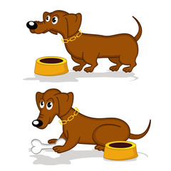 dachshund in action - vector  illustration, eps