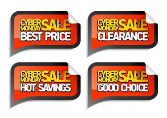 Cyber monday sale stickers.