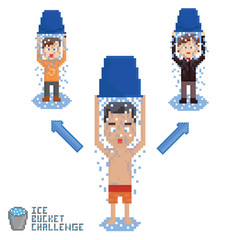 pixel art malking ice bucket chalenge in chain