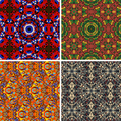 Mandala seamless vector pattern oriental geometrical texture set