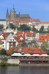 Autumn Prague gothic Castle above River Vltava, Czech Republic