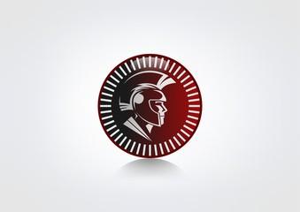 helmet Logo vintage antique, sparta symbol icon Vector