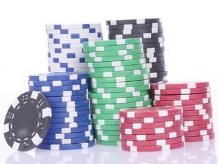 Pokerchips gestapelt, ungeordnet