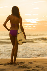 Woman Girl Bikini Surfer & Surfboard Sunset Beach