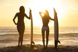 Beautiful Bikini Surfer Women Girls Surfboards Sunset Beach